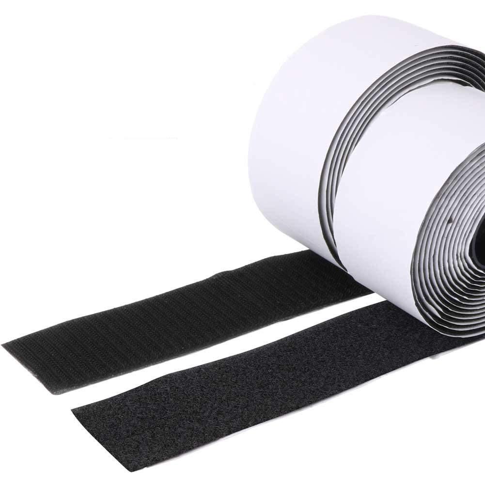 Black 1 Width Self Adhesive Hook and Loop Sticky Back Tape Fastener 16 feet