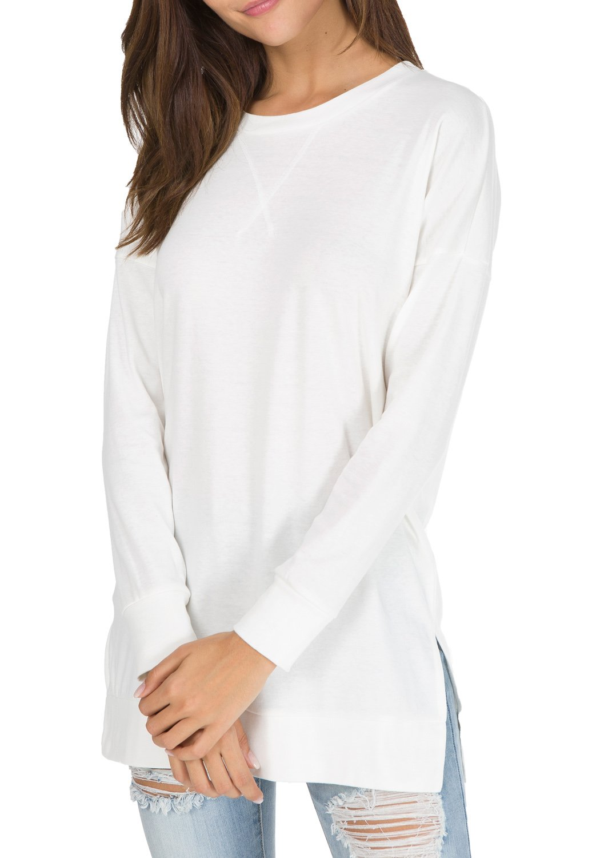Womens Fall Long Sleeve Sweatshirt Side Split Loose Casual Tunic Tops White M