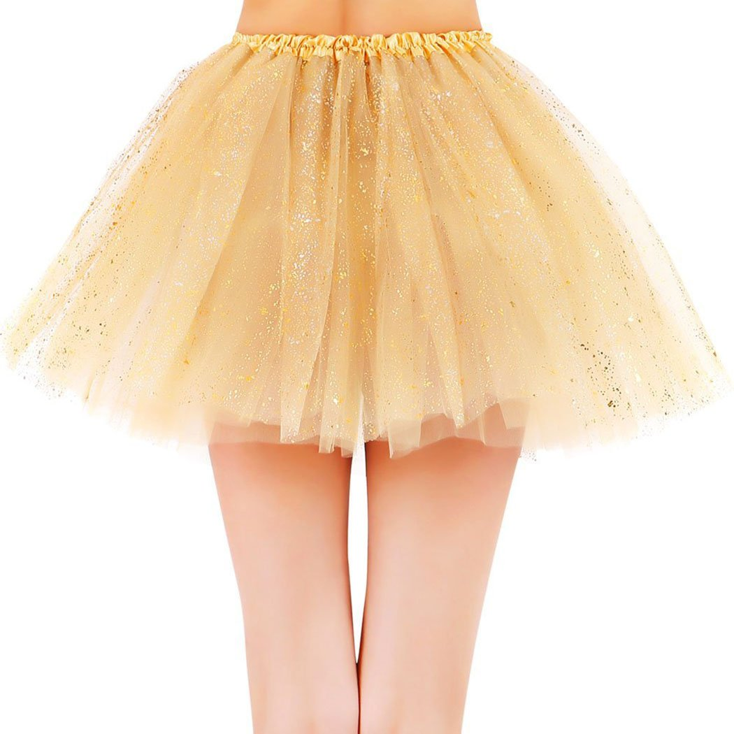 Womens Sparkly 3 Layered Colored Fairy Princess Tutu Tulle Skirt Golden Tutu by Siero (Image #2)