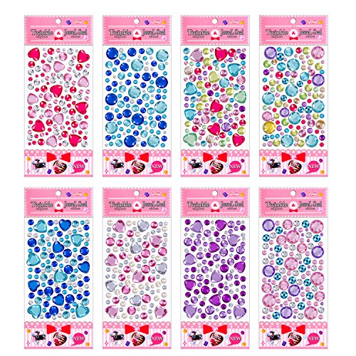 IVLWE [8 Sheets] Kids Gems Stickers Intellectual DIY Crafts Stickers Non-Toxic Prime Acrylic Rhinestone Sticker Gems Jewels Stickers for Kids Crafts/Scrapbooking/Prize/Party Favor/Phone Decoration