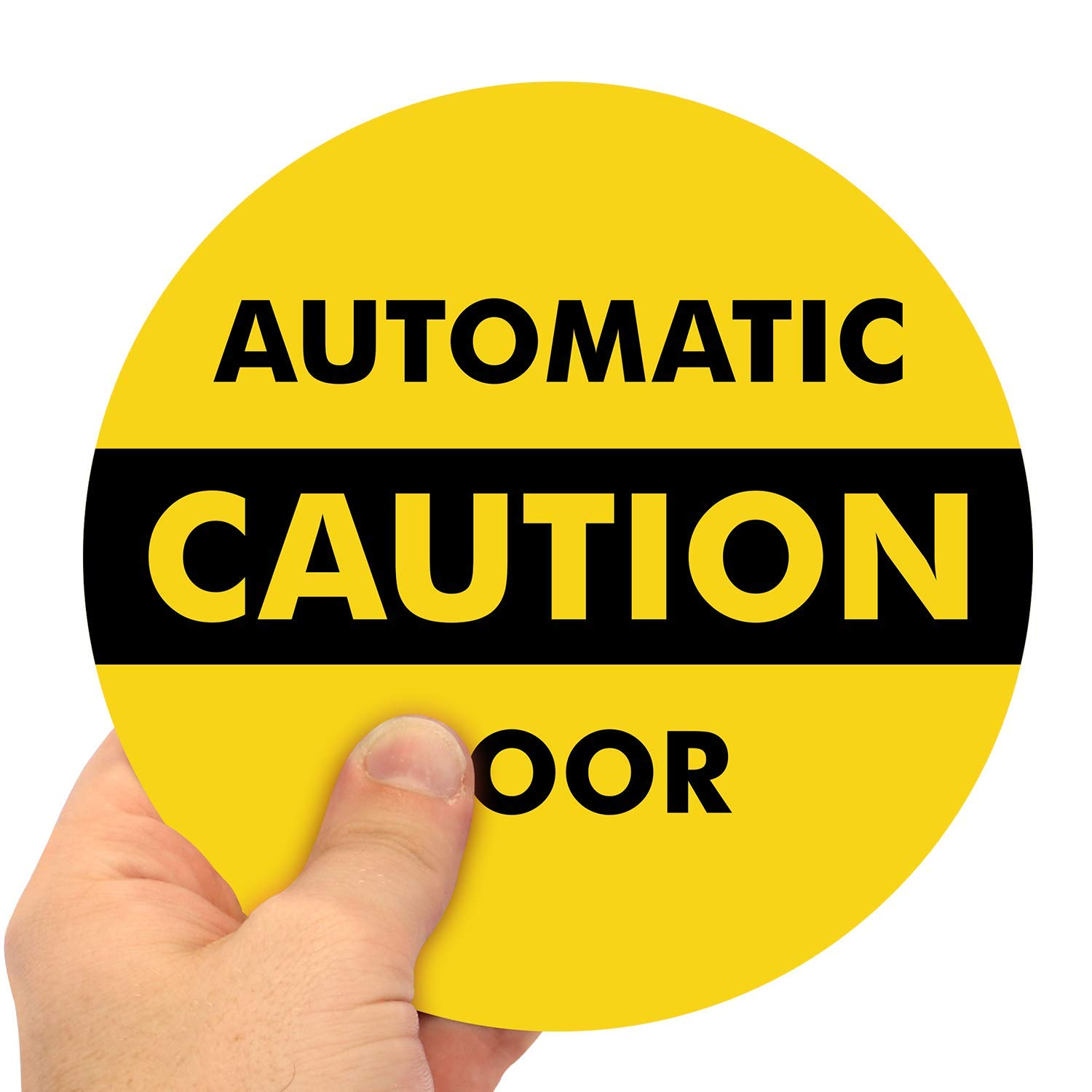 """SmartSign - L-245-W2-6OD """"Caution - Automatic Door"""" Two-Sided Glass Door Decal 