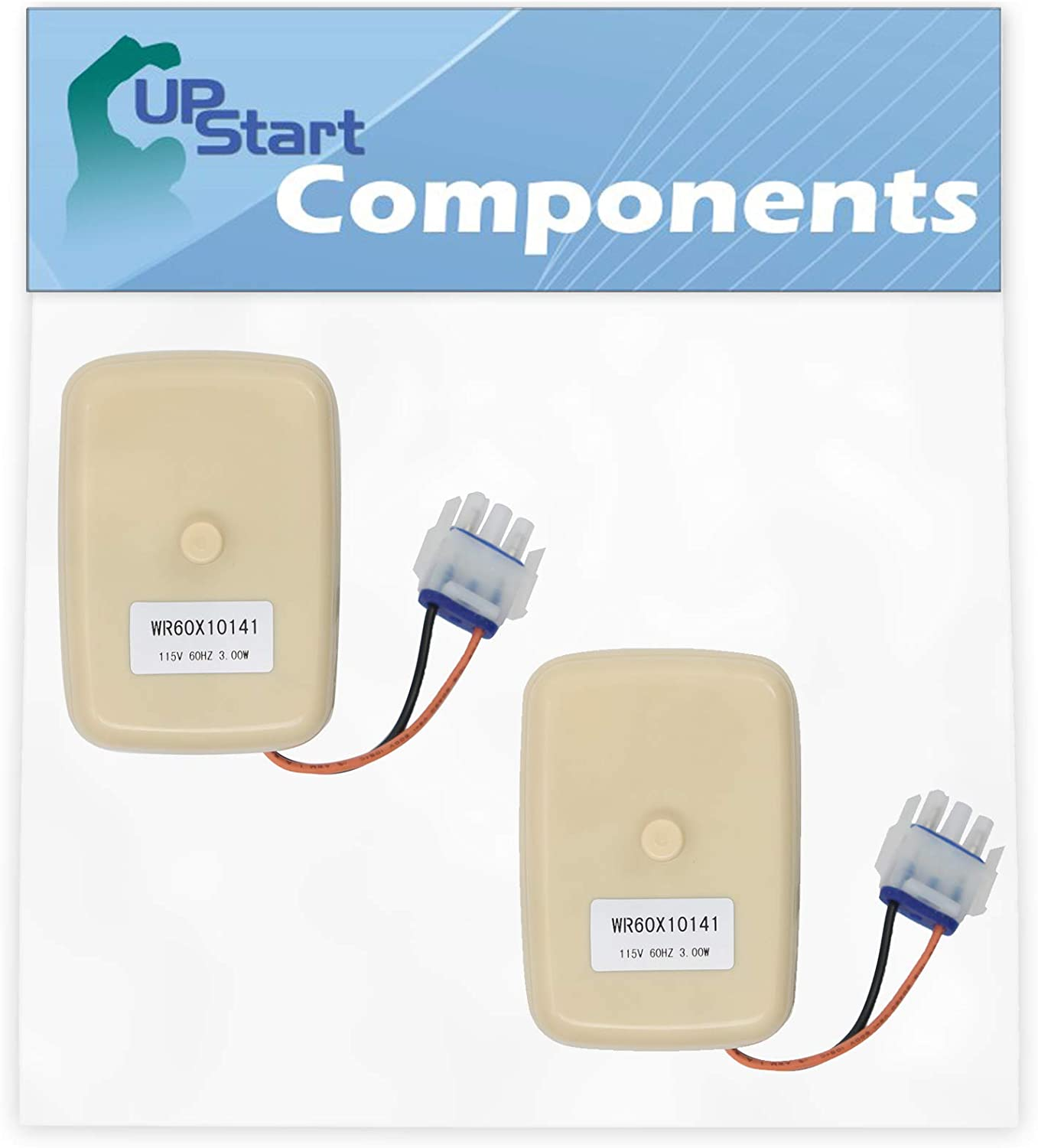 2-Pack WR60X10141 Evaporator Fan Motor Replacement for General Electric GTS18HBSARWW Refrigerator - Compatible with WR60X23584 Fan Motor - UpStart Components Brand