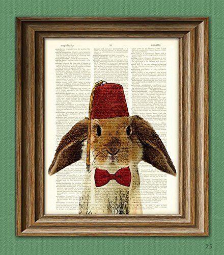 BUNNY RABBIT Art Print with Lop Rabbit with tassled FEZ and a bow tie illustration beautifully upcycled dictionary page book art print