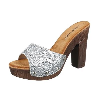 Ital-Design Pantoletten Damen Schuhe Jazz   Modern Pump Nieten Besetzte  Sandalen Sandaletten Silber 4af89c1811