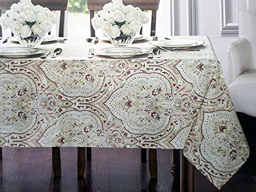 Waterford Linens Fabric Easy Care Tablecloth, 70 Inches Round -- Tangier, Spice -- Classical Paisley Medallion Print Pattern Rust Gray Taupe ()