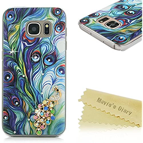 S7 Case,Galaxy S7 Case - Mavis's Diary 3D Handmade Bling Crystal Colorful Shiny Diamonds Gems Peacock with Fashion Feather Pattern Clear Hard PC Cover for Sales