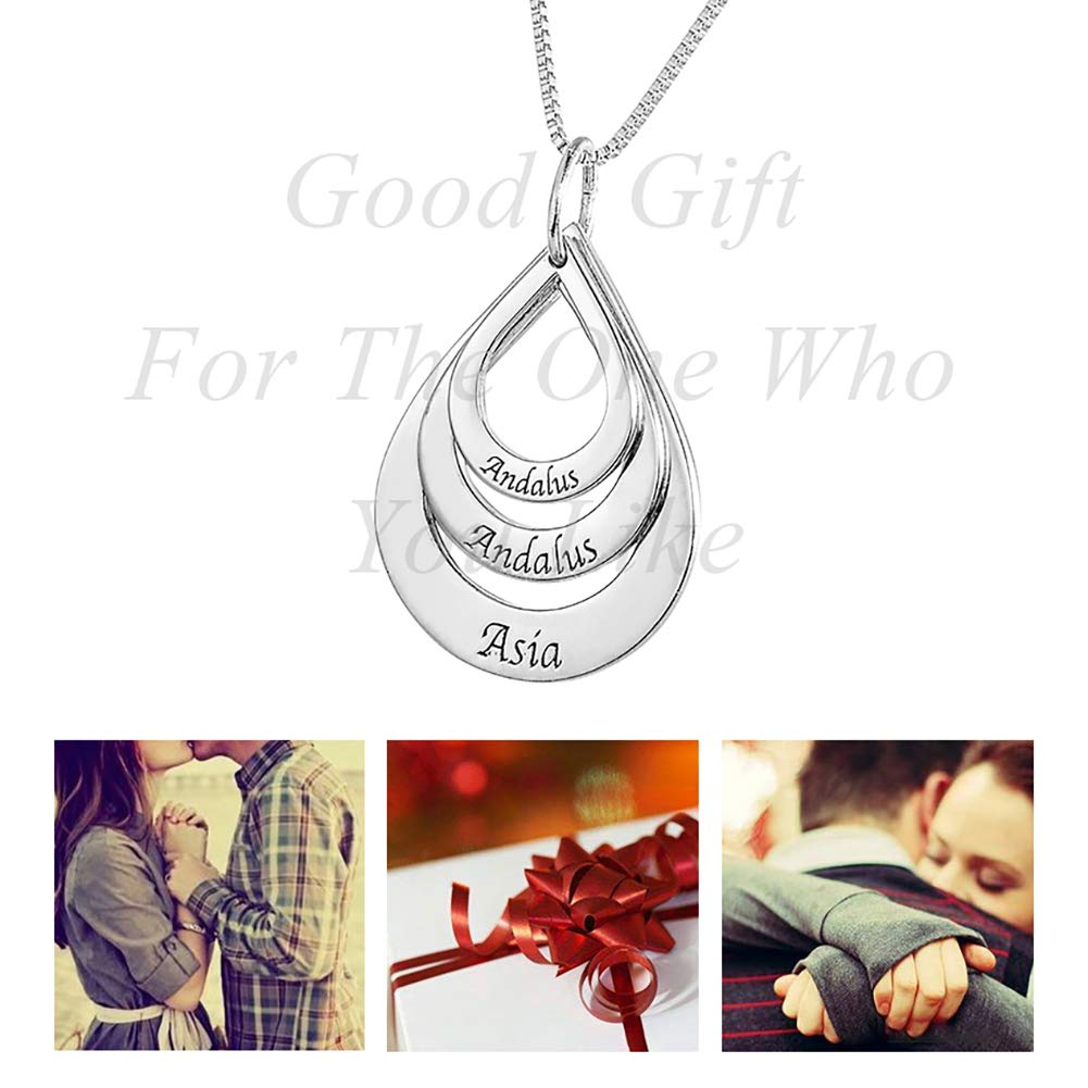 Valyria Three Treasures Personalized Teardrop Charm Pendant Necklace Custom Made with Any 3 Names