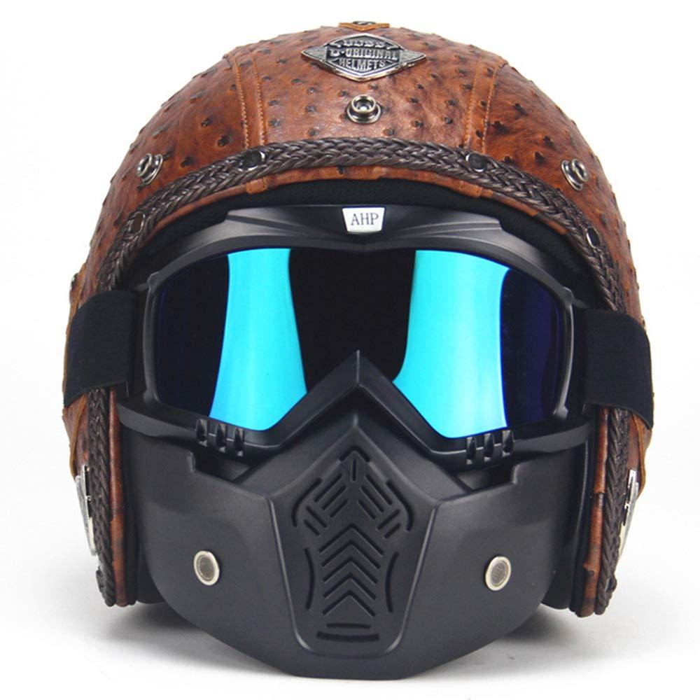 G-AVERIL Open Face 3//4 Motorcycle Helmet Cruiser Micrometric Buckle DOT Certified Brown-C