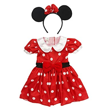 76aa670df Disney Infant Girls Minnie Mouse Costume Red Polka Dot Baby Dress &  Headband 3m