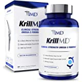 1MD KrillMD - Antarctic Krill Oil Omega 3 Supplement with Astaxanthin, EPA, DHA | 2X More Effective Than Fish Oil | 60…