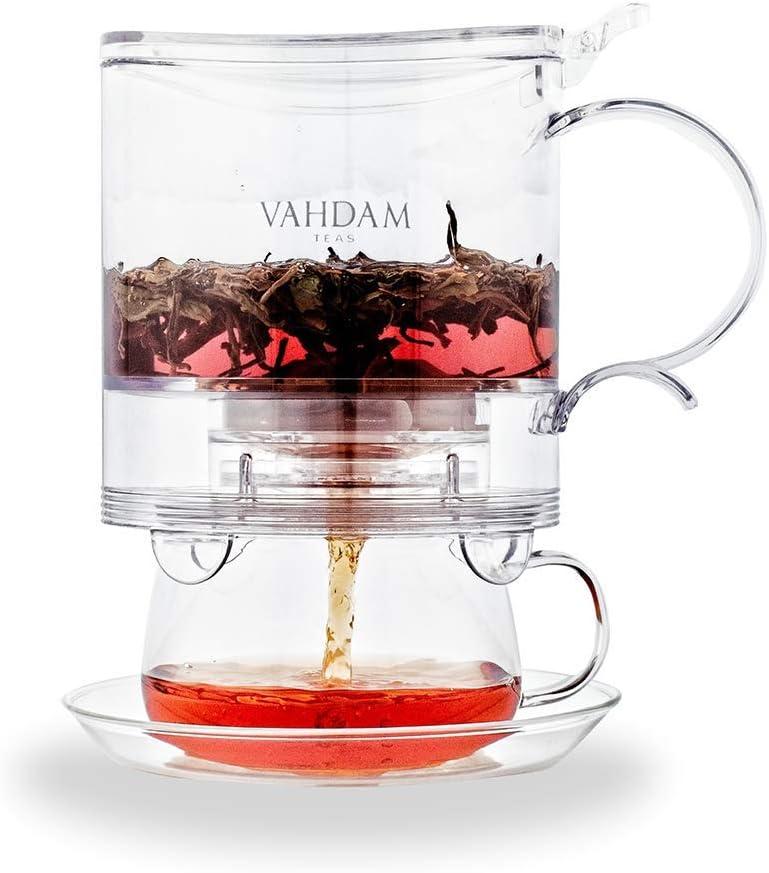 VAHDAM, infusor de te Imperial, 16 oz, Tetera de dispensación Inferior | 100% Seguro - Aprobado por LA FDA - TRITAN SIN BPA | Drain-Tap Technology | Mejor Tetera con infusores para té Suelto