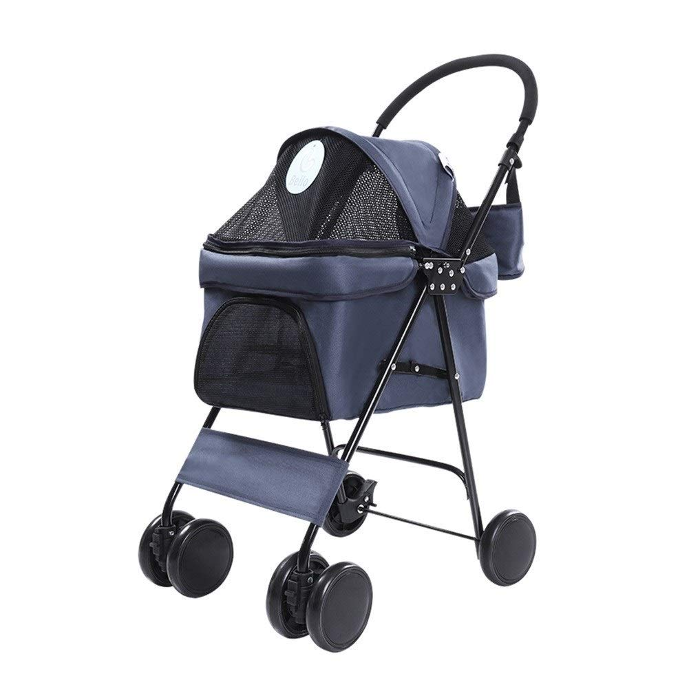 bluee RYAN Dog Pushchair, Stroller Pram Carrier Outdoor Travel Folding Trolley Cat Universal 4 Wheels For Teddy Disabled Dog Carriage (color   Black)