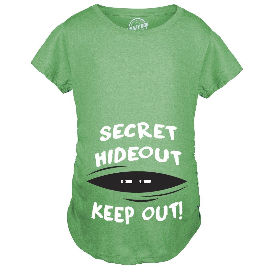 Maternity Secret Hideout Baby Peeking Maternity Shirt Funny Pregnancy Shirts (Green) L
