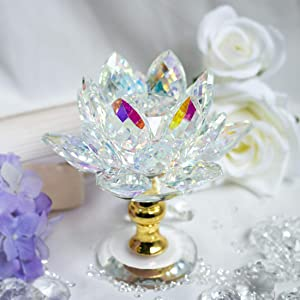 H&D HYALINE & DORA Colorful Crystal Lotus Flower Figurines for Home Decor (3.9Inch-Multi)
