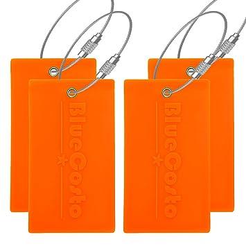 CSTOM Flexible Etiquetas Equipaje Maleta Bolsas - Fluorescente Naranja, 4 Pieces: Amazon.es: Equipaje