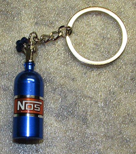 NOS Nitrous Oxide Systems Blue Bottle KEY CHAIN Ring Keychain - Nitrous Blue