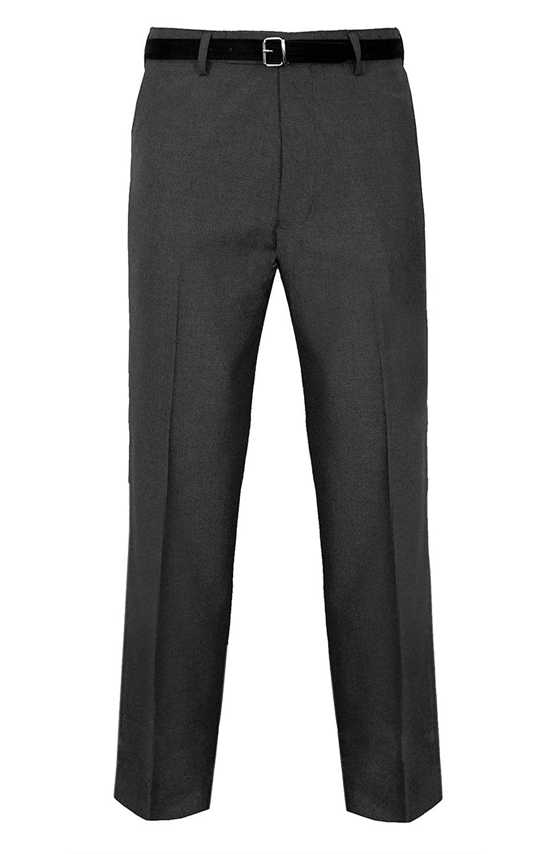 MA ONLINE Mens Fancy Smart Belt Pocket Business Pants Boys Plain Casual Office Pants Trousers