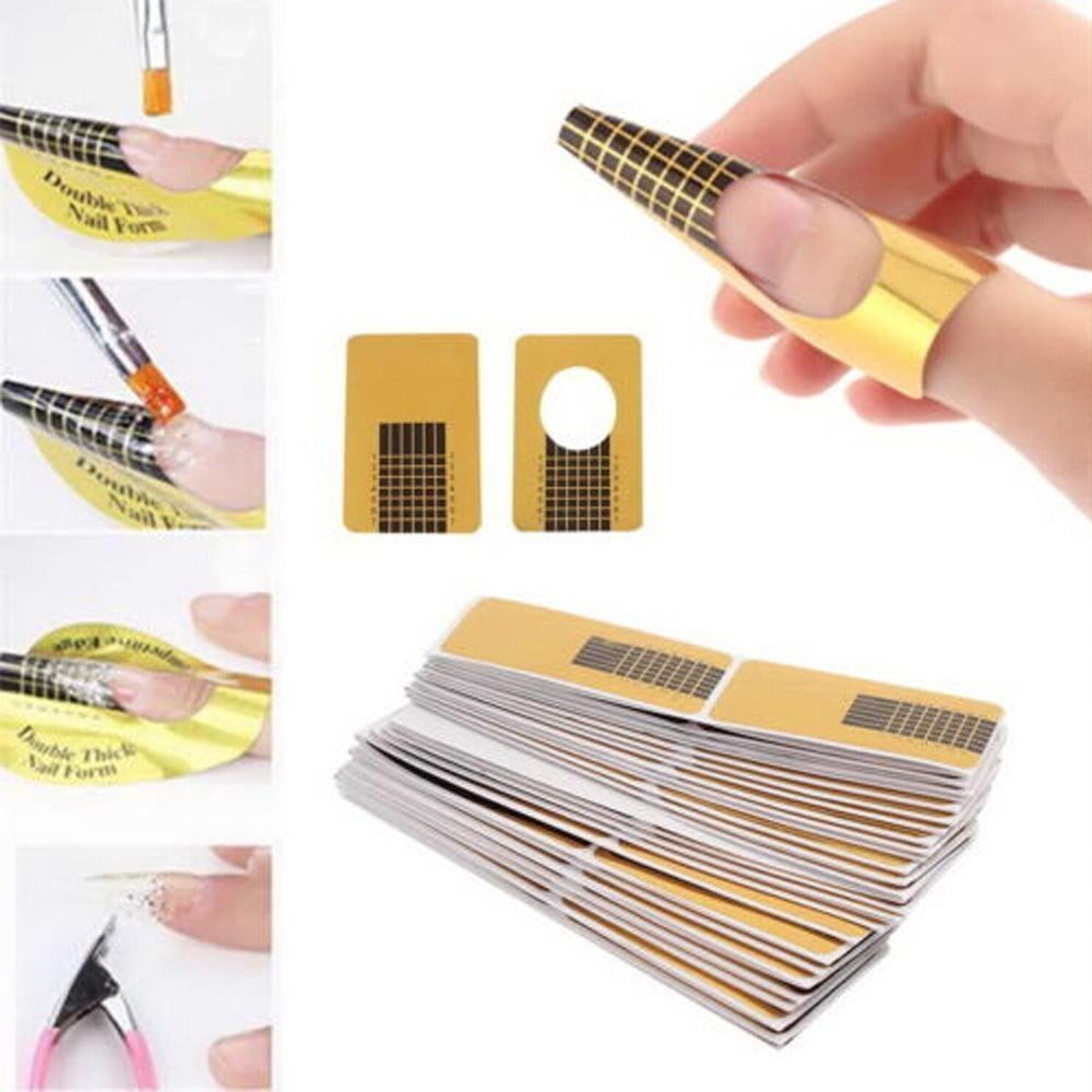 100pcs Nail Forms, Mumustar UV Gel Acrylic Nail Art Tips Extension Forms Guide Manicure Design Paper Tray Accessory