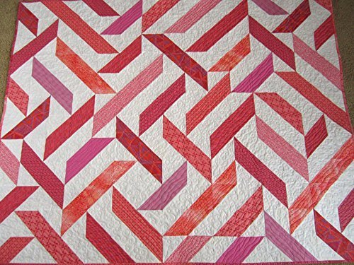 Handcrafted Quilted Throw (Handmade Quilt, Patchwork Quilt, Homemade Quilt, Sofa Quilt, Lap Quilt, Pink Quilt, Quilted Throw, Pieced Quilt, Modern Quilt, Handcrafted Quilt, 100% Cotton, Made in USA,)