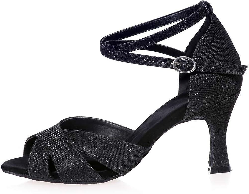 Alti Tacco Medio Raso Scarpe da Ballo, Moda Cinturino alla Caviglia Classico delle Donne Fibbia Latino Scarpe da Ballo di Tango della Salsa Brown