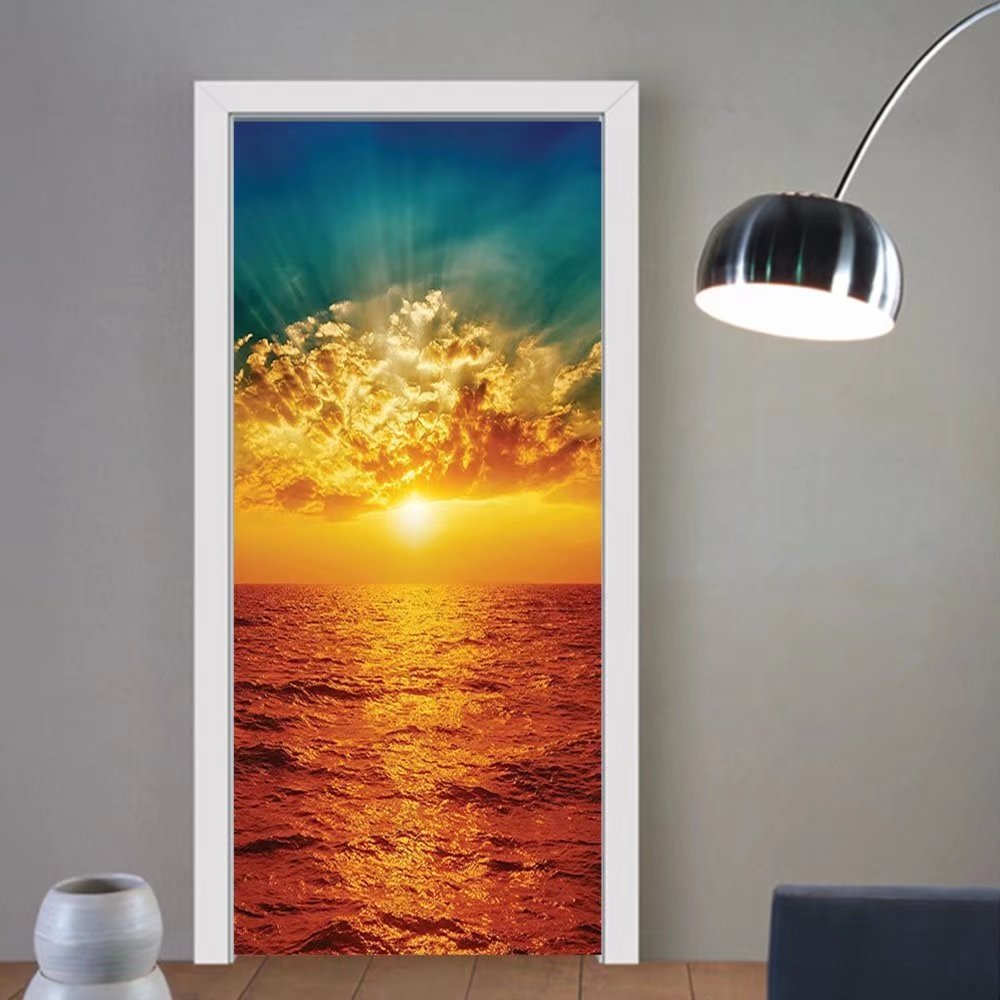 Gzhihine custom made 3d door stickers Sunset Ocean Decor Cloudy Sky Colorful Cancun Picture Print Kids Girls Boys Room Dorm Accessories Slate Grey Dark Blue Orange For Room Decor 30x79