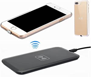 Wireless Charger Kit for iPhone 7 Plus, hanende [Sleep-Friendly] Qi Wireless Charging Pad and Wireless Receiver Case for iPhone 7 Plus (Gold)