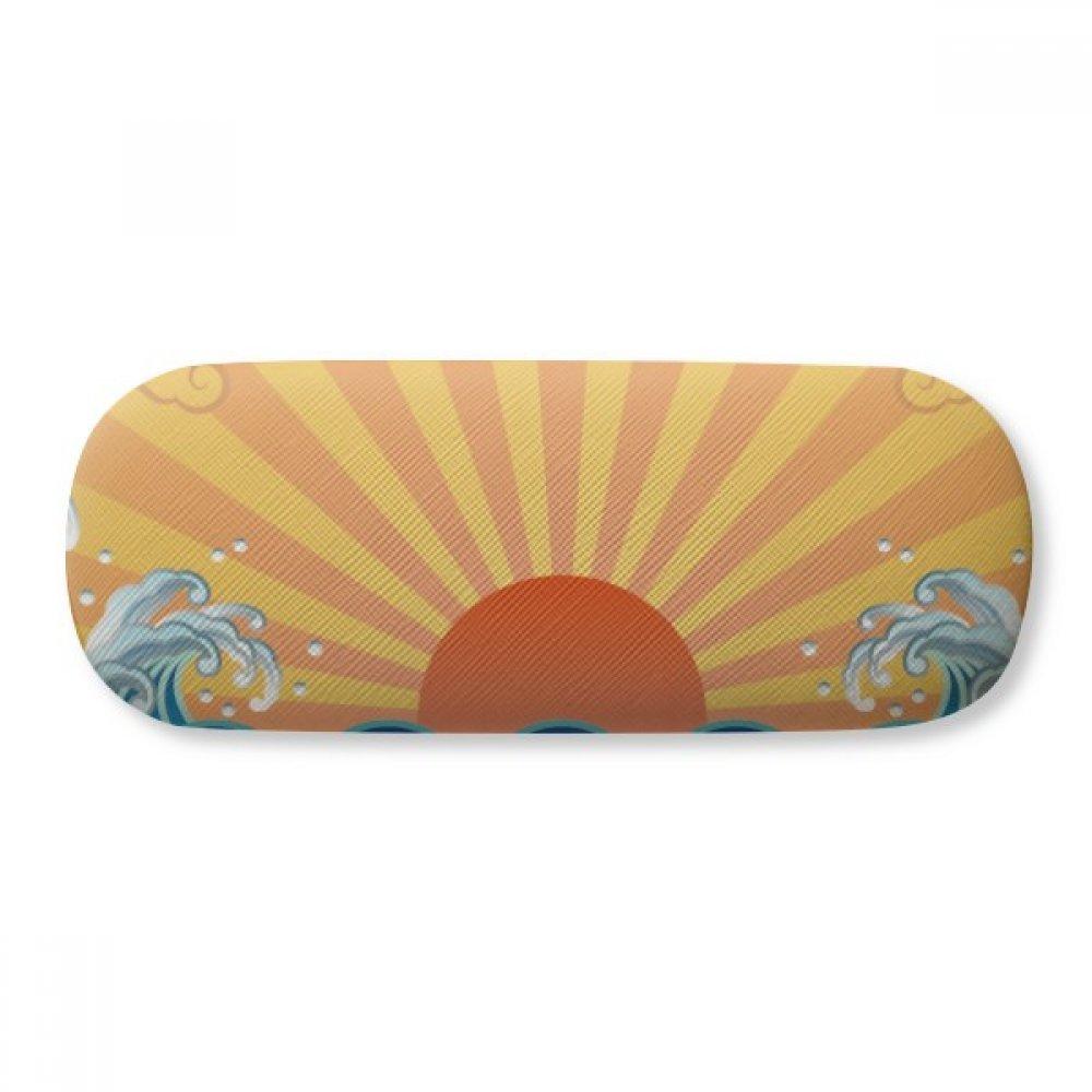 Sun Cloud Sea Water Weather Pattern Glasses Case Eyeglasses Clam Shell Holder Storage Box