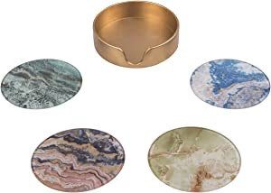 CIKER 4-Piece Coaster Set with Different and Beautiful Painted Designs- Protect Furniture