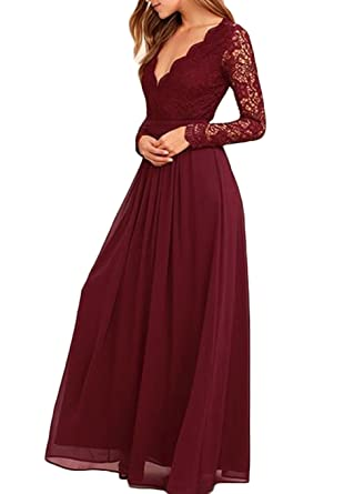 SIPEI Long Sleeve Deep V Neck Prom Dress Wedding Bridesmaid Dress Prom Gown US 2