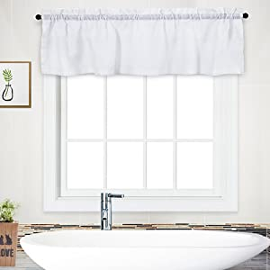 """NANAN Curtain Valance, Waffle Woven Textured Valance for Bathroom Water Repellent Window Covering - 60"""" x 15"""", White, One Panel"""