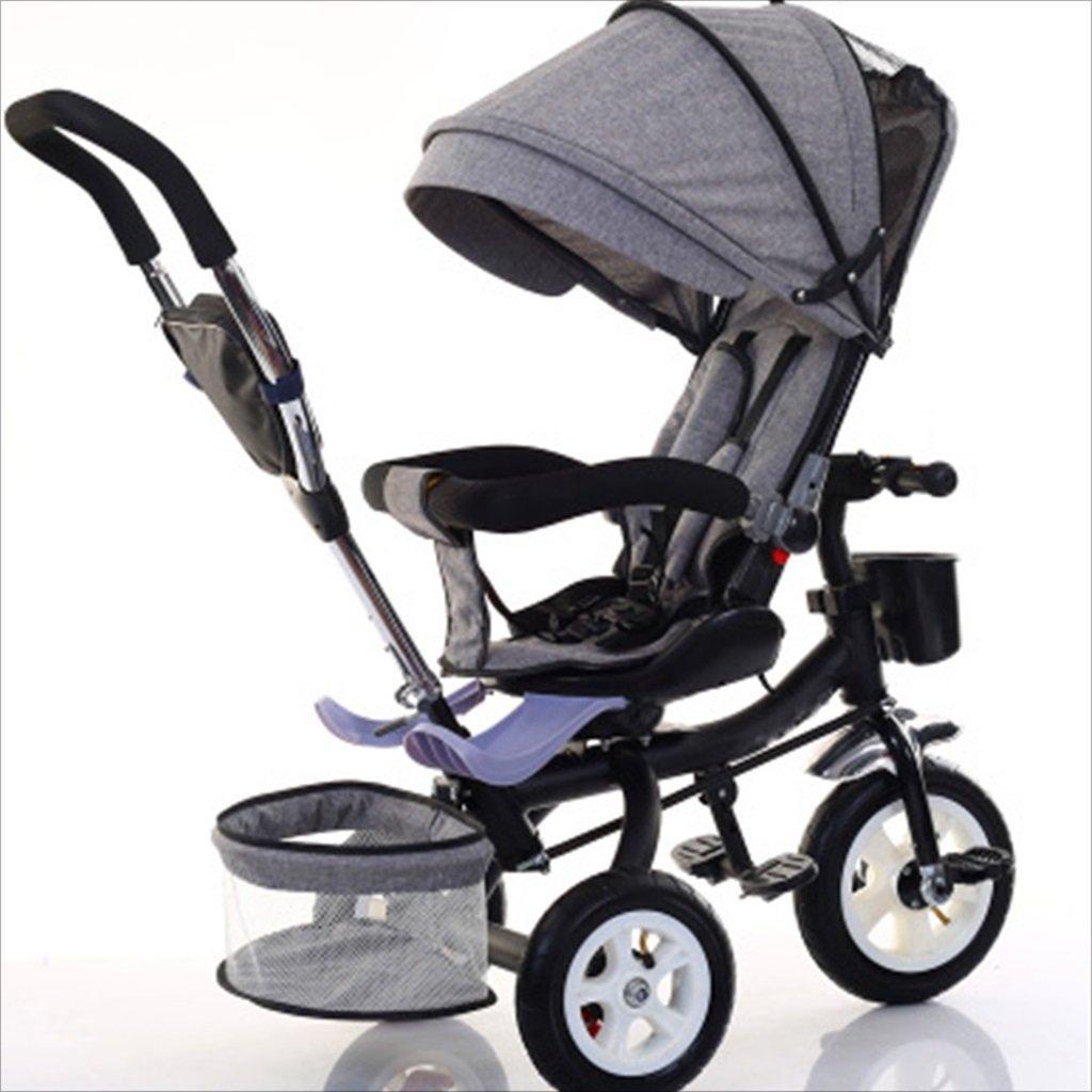 子供屋内屋外の小さな三輪車自転車の男の子の自転車の自転車6ヶ月-5歳の赤ちゃんの3つのホイールトロリー、ダンピング/回転シート/インフレータブルホイール (色 : 4) B07DVDNCG6 4 4