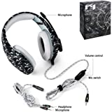 ONIKUMA K1-B Pro Camouflage Over-Ear Surround Sound Noise Cancelling Gaming Headset Microphone Bundle with Headphone Stand for PC, Xbox One, PS4, Nintendo Switch, Mac, Desktop, Laptop, Computer (Gray)