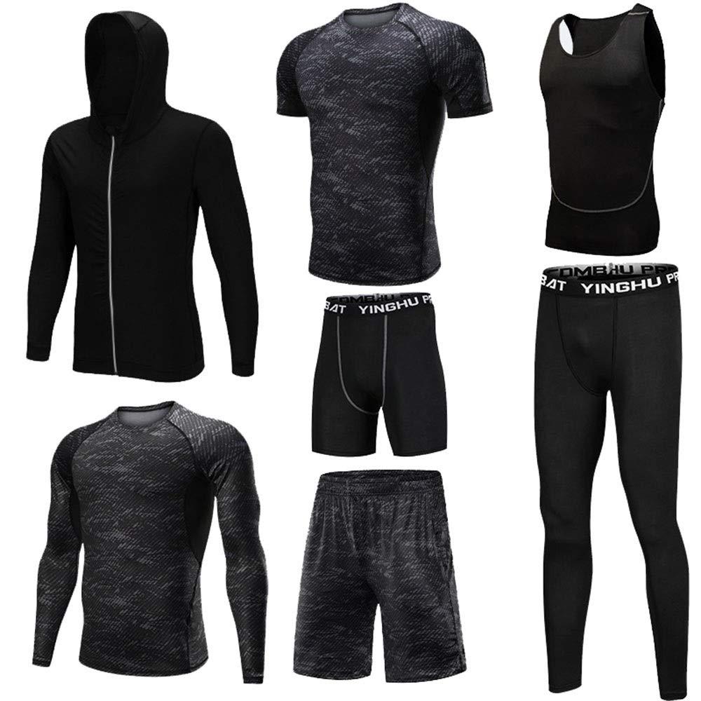 Wuxingqing Gym Wear Fitness Bekleidung Set Männer Gymnastik-Kleidung 7-teilige Sets mit Outwear Compression Enge Hose 3er-Pack Tshirt 2er-Pack Shorts (Color : Black, Size : XXL)