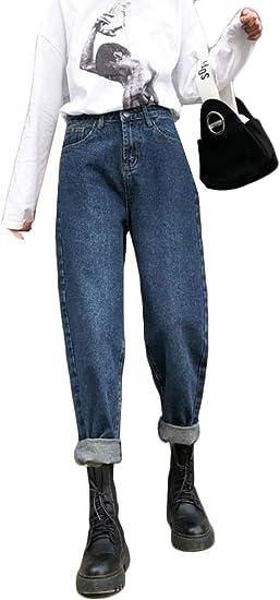 [ディーハウ] レディース ストレートジーンズ ズボン ジーンズ デニム ロングパンツ ハイウエスト デニム パンツ ボトムス 9分丈 ジーンズ ゆったり