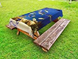 Lunarable Ocean Outdoor Tablecloth, Clear Underwater Sea World Marine Plants and Tropical Fish School, Decorative Washable Picnic Table Cloth, 58 X 84 inches, Navy Blue Ivory and Yellow