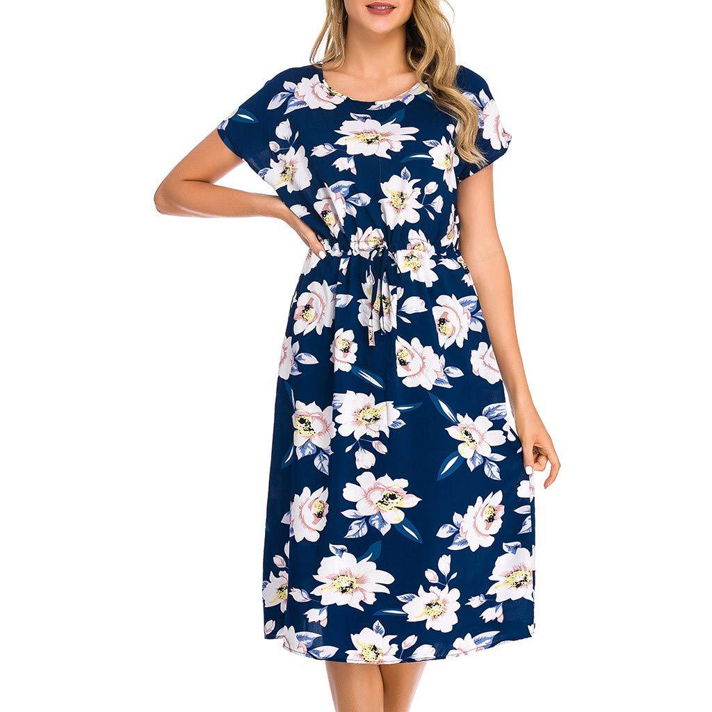 Frauen Sommor Kleid Jessboy Damen Vintage Print Kurzarm Damen O-Ausschnitt L/ässig Wadenlanges Kleid Frau Sommer beil/äufige lose kurz/ärmeliges Kleid gedruckt
