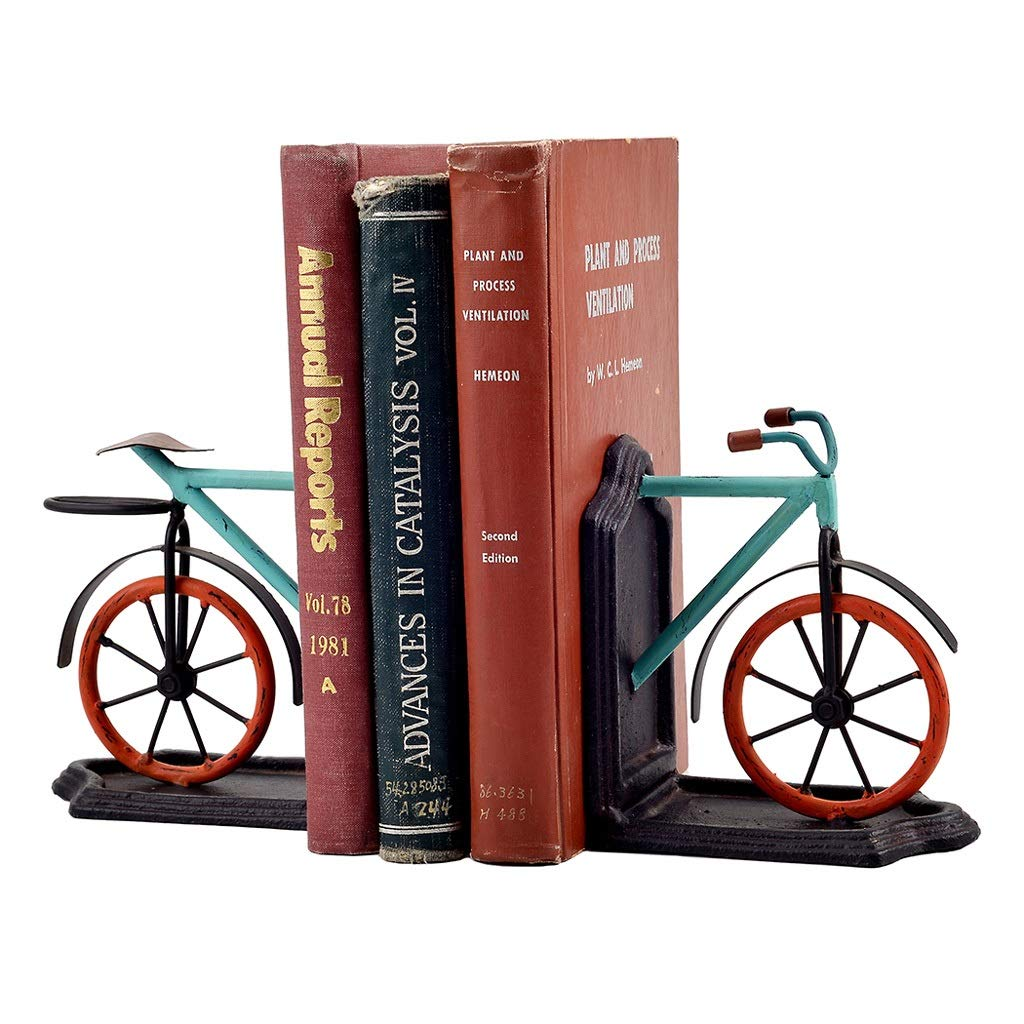 Xilin-shop Bookends Nonskid Vintage Style Metal Bicycle Bookends Art Bookend Reading Bookshelf Library Decor Art Bookend by Xilin-shop