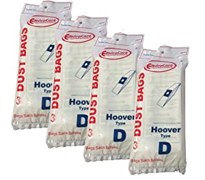 12 bags (4 pkgs) Hoover Type D Upright Vacuum Cleaner Bags Part #4010005D Dial a Matic Model 1140 (Dialamatic)