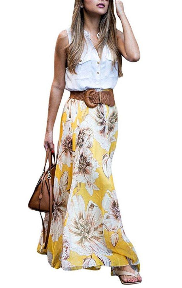MICHEN women's summer print high waist fold chiffon Maxi long skirt Yellow M