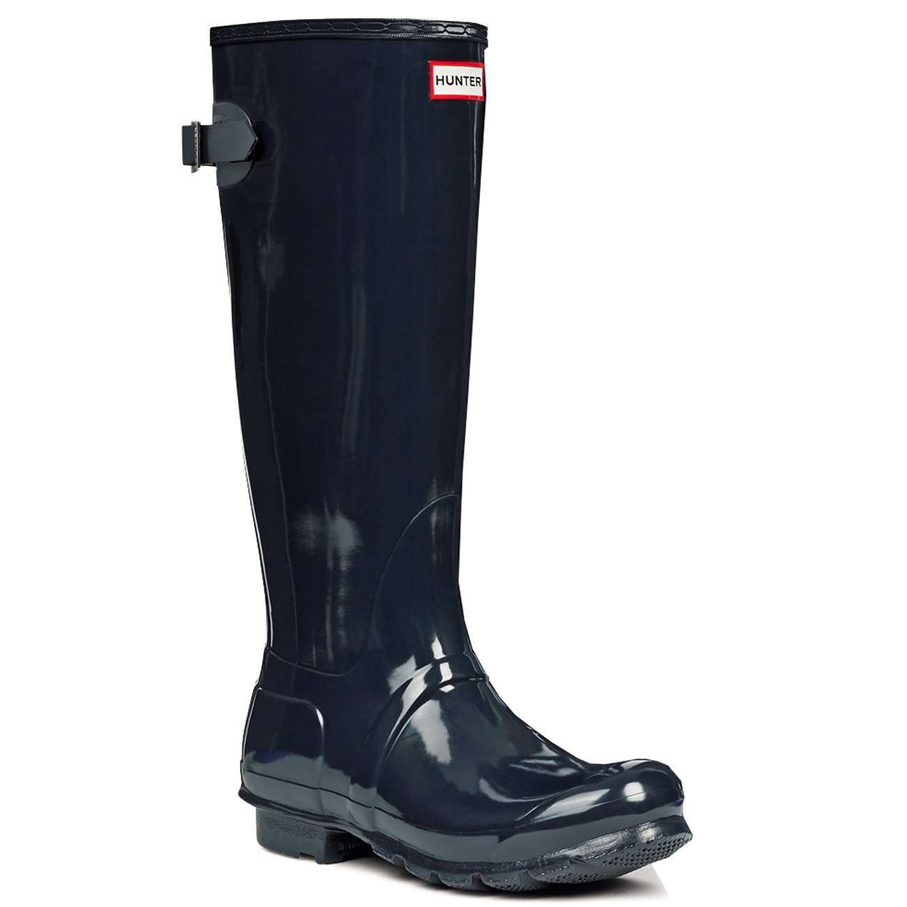 Womens Hunter Original Adjustable Back Gloss Wellington Winter Rain Boot B00NGPT9N0 6 M US|Navy