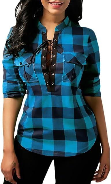 Camiseta Mujer Elegantes A Cuadros Vintage Hippie Moda Manga Larga V Cuello Bandage Slim Fit Camisa Blusas Tops (Color : Azul, Size : M): Amazon.es: Ropa y accesorios