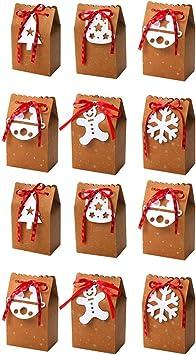 Amosfun Cajas de regalo de Navidad de papel kraft con dibujos ...