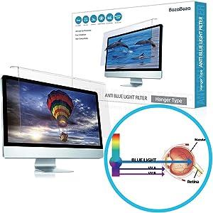 "(BozaBoza) Acrylic Anti Blue Light Screen Protector 22"" Easy On/Off (for 22"" Universal Diagonally Measured 16 : 9/16 : 10 Aspect Ratio) Filtering Out Blue Light for Laptop, Notebook, Monitor"