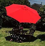 "BELLRINO DECOR "" RED "" Market Aluminum Patio Umbrella 9 Ft with Tilt and Crank,8 Ribs For Sale"