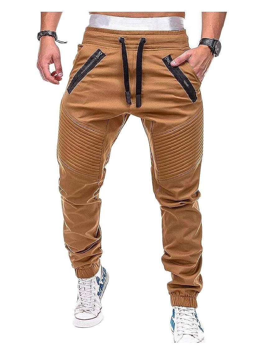 Etecredpow Mens Elastic Waist Trousers Jogger Stripe Sports Pants