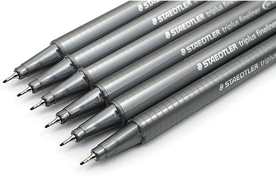Staedtler Triplus Fineliner 334 Pens with Line Width 0.3 mm Black Pack of 6