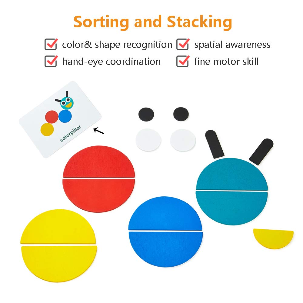 LiKee Wooden Pattern Blocks Animals Jigsaw Puzzle Sorting and Stacking Games Montessori Educational Toys for Toddlers Kids Boys Girls Age 2 Years Old 36 Shape Pieces/& 60 Design Cards in Iron Box