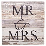 Second Nature By Hand MR & MRS – Reclaimed Pallet Wood Wall Art, Handcrafted Decorative Plaque, 10″ x 10″