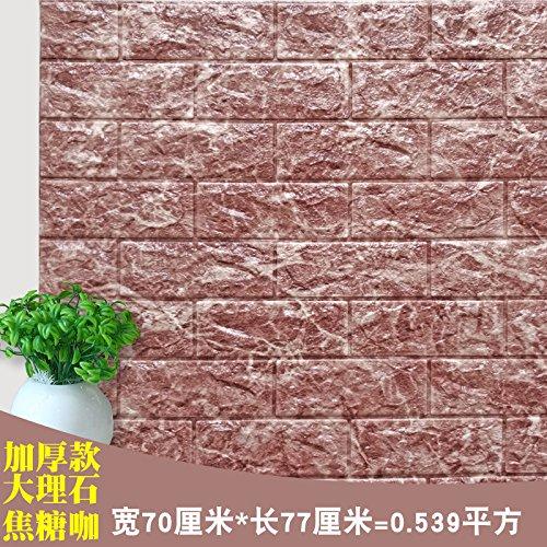 Jhyhome Self-Adhesive Wallpaper Wall Stickers 3D Foam self-Adhesive Wallpaper Wallpaper Background Grain Wood, Caramel Coffee Marble 70x77cmx9mm