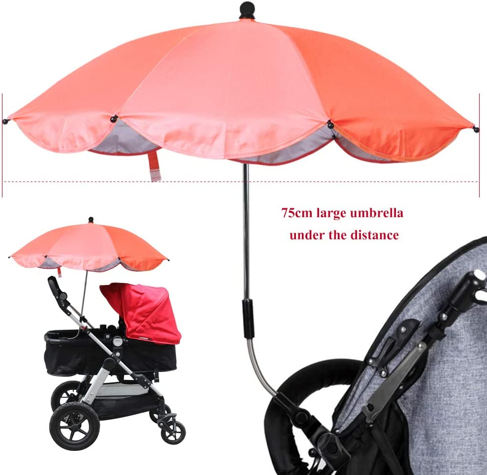 with Umbrella Bar Holder Mount Stand,Bicycle Umbrella Holder Clip Clamp,Baby Stroller Cover Parasol for Sun Rain Protection UV Rays Umbrella Urijk Stretchable Baby Pram Stroller Chair Sun Cover